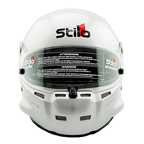 Stilo ST5 GT Wide Composite SA2015 Helmet with Noise Attenuating Ear Muffs - Silver - Size 63 (2X-Large) ()