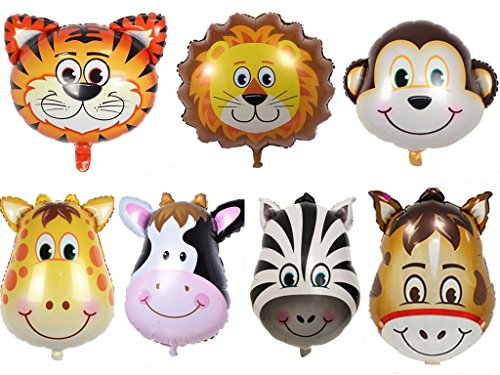 King's Store 7 PCS Huge animal balloons, the of the image is clear, the balloon is double sided and self sealing,Fill the helium or hydrogen can float for a long time Balloons (Helium Animal Balloons)