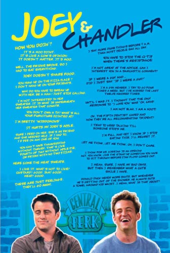 mCasting Friends Poster - Friends Merchandise TV Show Poster- Joey and Chandler Posters - Friends Show Gifts and Decor (Joey & Chandler Quotes) (Small Poster Friend)