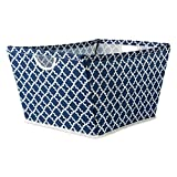 DII Collapsible Polyester Trapezoid Storage Basket, Home Organizational Solution for Office, Bedroom, Closet, Toys (X-Large - 22x15x13) Nautical Blue Lattice