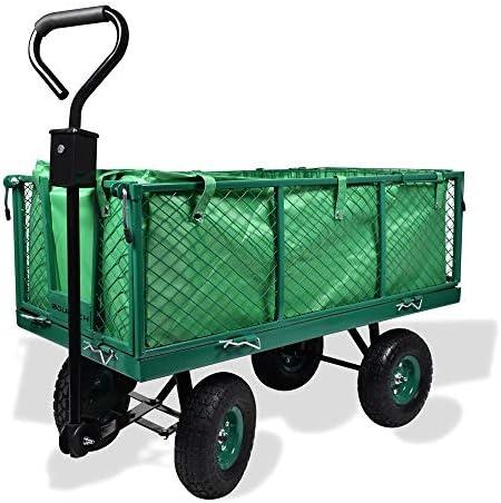 Carro para jardín con ruedas carga máx de 550 kg carretilla de jardín con lona extraíble transporte fácil con rejilla adicional: Amazon.es: Hogar