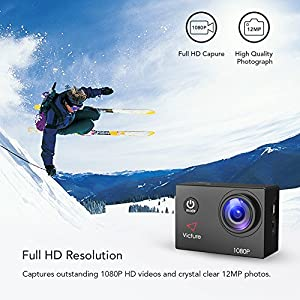 【Upgraded】Victure Action Camera 1080P Full HD 12MP 30m Underwater Waterproof Camera 170° Wide-angle Sports Cam with HDR Technology and 26 Mounting Accessories from Victure