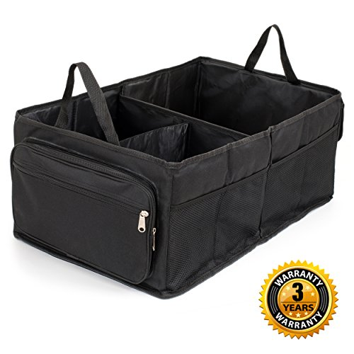 Trunk Organizer By Car Org  Best For Suv  Truck  Van Auto   Heavy Duty  Collapsible  Organizing Box For All Types Of Vehicles   Home Use    Cargo Storage With Zippered Pockets   Hard  Durable Bottom