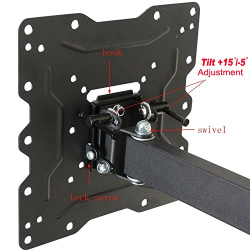 """VideoSecu ML531BE TV Wall Mount for most 22""""-55"""" LED LCD Plasma Flat Screen Monitor up to 88 lb VESA 400x400 with Full Motion Swivel Articulating 20 in Extension Arm, HDMI Cable & Bubble Level WP5"""