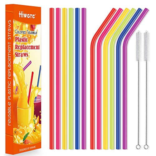 12 Pack Reusable Straws, Hiware 10.5