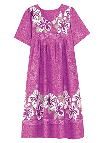 AmeriMark Women's Border Print Patio Dress 3X (24W-26W)/Orchid