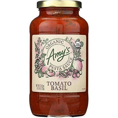 Amy's Red Spaghetti Pasta Sauce Tomato Basil, USDA Organic, Gluten Free,Vegan,Yeast Free - 25.5 Fl Oz | Pack of 6