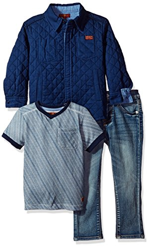 7 For All Mankind Toddler Boys 3 Piece Trucker Jacket T Shirt and Jean Set Peacoat 4T