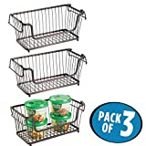 mDesign Vintage Household Stackable Metal Wire Storage Organizer Bin Basket with Handles, for Kitchen Cabinets, Pantry, Closets, Bedrooms, Bathrooms - 12'', Pack of 3, Steel - Bronze Finish