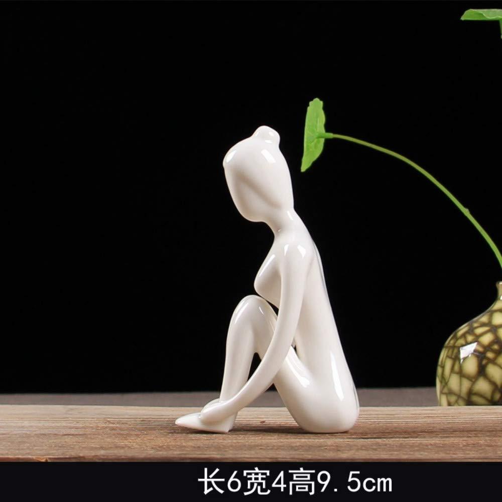 3 JIAHUADE Modern Minimalist Creative Yoga Girl Ornaments Ceramic Craft Home Accessories Abstract Character Closet Small Ornaments,3
