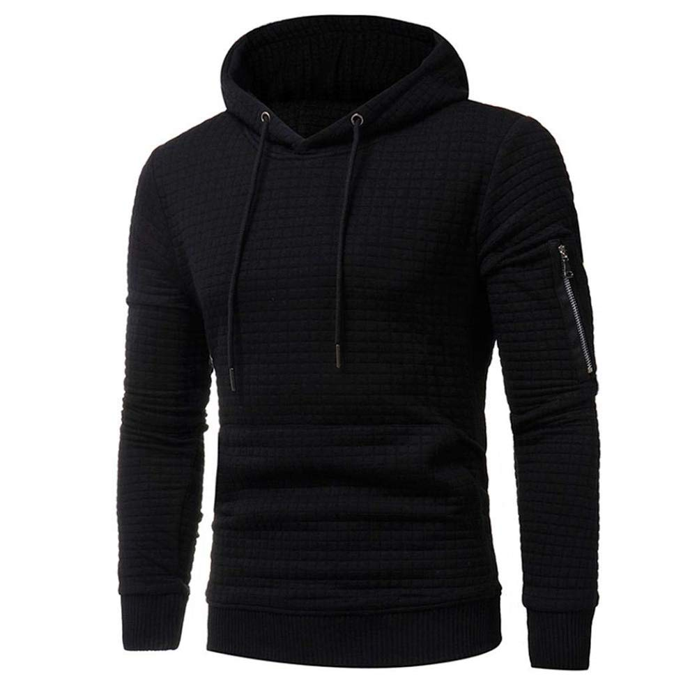 Mens Hooded Sweatshirt Fashion Holiday Plaid Hoodie Tops Jacket Coat Outwear