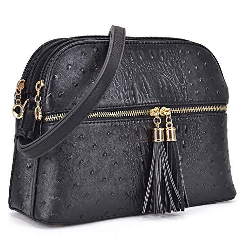 Dasein Women's Ostrich Lightweight Medium Dome Crossbody Bag for Ladies with Tassel (Black) ()