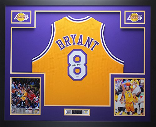 e0d532e9f31 Kobe Bryant Autographed Gold Lakers Jersey - Beautifully Matted and Framed  - Hand Signed By Kobe Bryant and Certified Authentic by PSA COA - Includes  ...