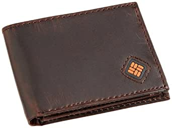Columbia Men's Leather Slim Traveler Bifold Wallet,Brown,One Size
