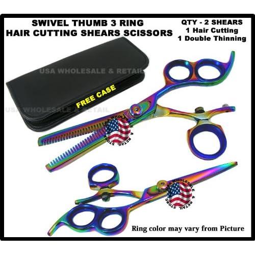 18T3PAIR USAW&R Brand Professional Titanium Hair Cutting + Double Thinning Swivel Thumb Shears Scissors