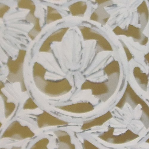 Kamal The Lotus Antique White 4 Panel Handcrafted Wood Room Divider Screen 72x80, Intricately carved on both sides making it fully reversible, highly versatile. Hides clutter, adds dÃcor by Cotton Craft (Image #2)