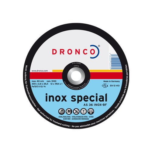 Cutting disc 300 x 2,8 x 25,4, AS 36 INOX, For Stainless Steel Dronco AS36INOX-300ST