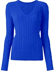 Women's Luxury V Neck Cable Knit Sweater Cotton Jumper Top Size 6-16