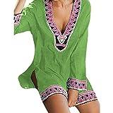 Kiminana Fashion Dress,Women's Deep V-Neck Print Long Sleeve Loose Casual Dress Green