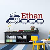 Name Wall Decal Cartoon Train Locomotive Personalized Boy Name Wall Decals Vinyl Stickers Nursery Kids Playroom Wall Art Home Decor M031