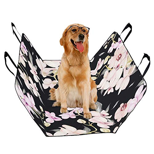 JTMOVING Fashion Oxford Pet Car Seat Tropical Orchid Branch Petals Buds Spring Blooming Flowers Vintage Waterproof Nonslip Canine Pet Dog Bed Hammock Convertible for Cars Trucks SUV ()