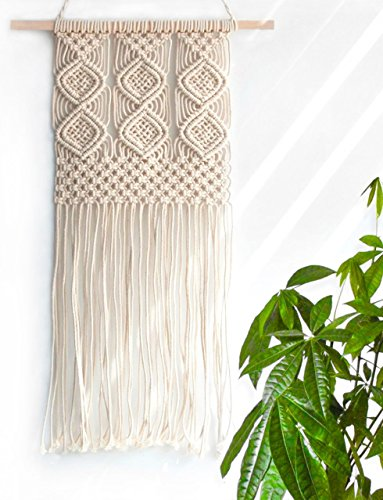 Handmade Macrame Wall Hanging Woven Tapestry - BOHO Chic Home Art Decor - Bohemian Apartment Studio Dorm Decorative Interior Wall Decor - Living Room Bedroom Nursery Craft Decorations, 12.0