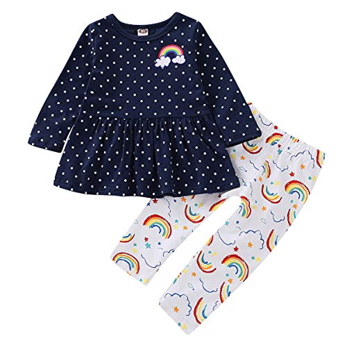 1-5T Girls Long Sleeve Rainbow Shirt Tops+Leggings Capris Pants Clothes Set (3-4T, Navy Blue) ()