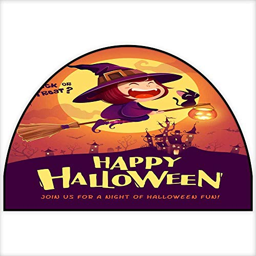 Half Wheel Carpet Happy Halloween Halloween Flying Little Witch Girl Kid in Halloween Costume Flying Over The Moon Retro Vintage Semicircle 30