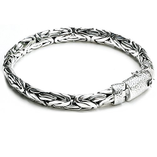 8.4 mm. Woven Sterling Silver Braided Bali Style Cable Antique Style Byzantine Link Chain Bracelet for Men Length 8,8.5,9 inches (8) by Kham