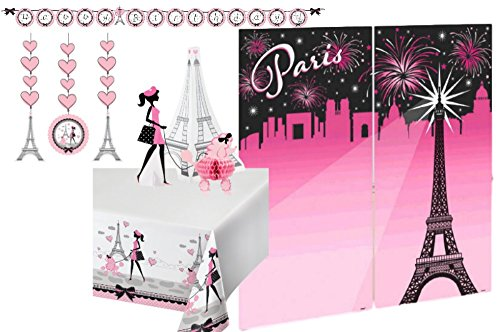Paris Party Decorations Supply Pack - French Themed Bundle Includes: Hanging Cutouts, Banner, Centerpiece, Selfie Scene Setter, and a Tablecover