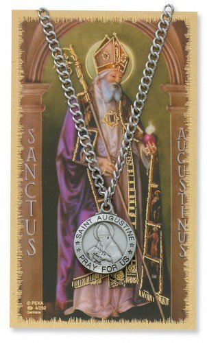 Saint Augustine 3/4-inch Pewter Medal Pendant with Holy Prayer - And Women Augustine St