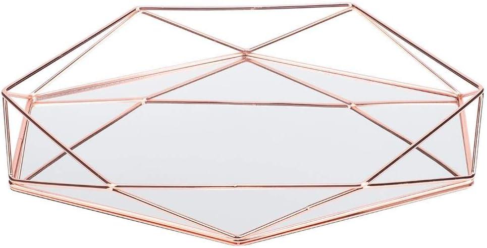 Duokon Miroir Sexangle Dor/é en M/étal Cosm/étiques Rangement D/écoration Bijoux Rangement en Verre M/étal Organisateur pour Commode Chambre /à Coucher Or Rose Salle de Bain
