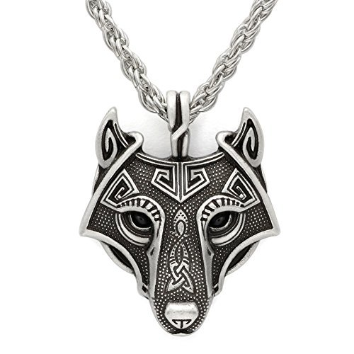 TTKP Norse Vikings Pendant Necklace Norse Wolf Head Necklace...