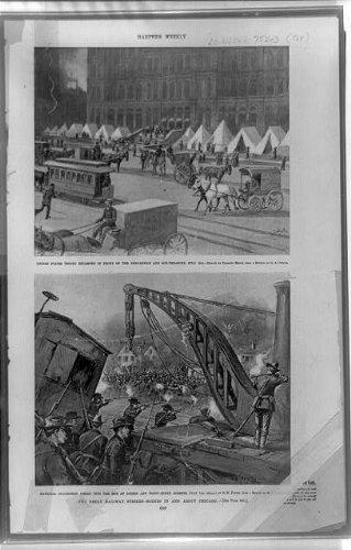 Photo: Great railway strikes,military camp,riot control,scenes,Chicago,Illinois,IL,1894
