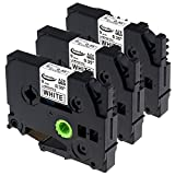 """Anycolor 3 Pack Compatible Brother TZe Laminated Label Tape TZe-221 TZ-221 for Brother P-touch Label Maker PT-D210 PT-H100 PT-H110 PT-D400AD PT-D1230, Black on White, 3/8"""" x 26.2'"""