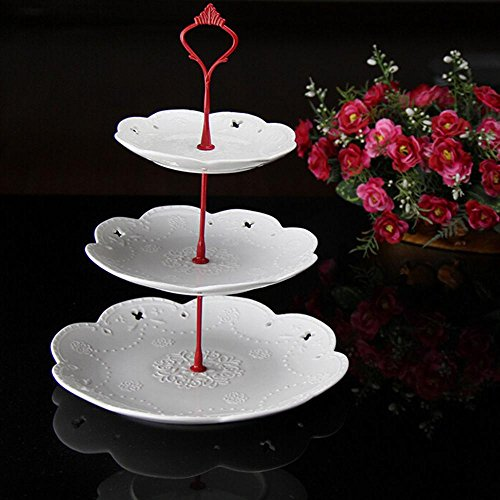 Cake Decor Stand - 1 Set Cake Plate Stand 2 Or 3 Tier Fittings Centre Handle Fitting Hardware Rod Wedding Party Decor 6 - Parts Doilies Ceramic Rotating Tray Floral Black Disposable Cover Plat