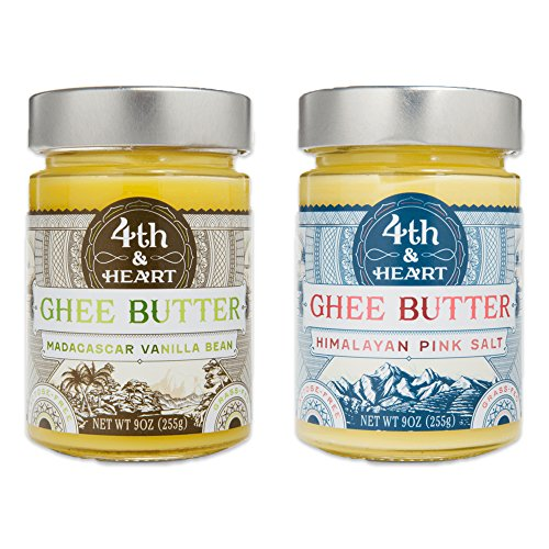 4th & Heart Grass-Fed Ghee Butter Variety Pack of 2, Each 9 Ounce ()