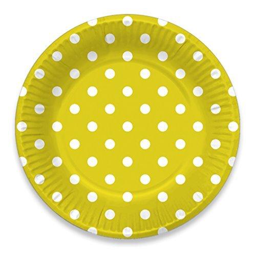 LolliZ 9 Paper Plates Yellow// Polka Dots 12-Pcs LolliZ®
