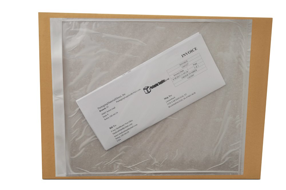 Clear Packing List Envelopes 9.5' x 12' Plain Face Back Side Load 500 Pieces