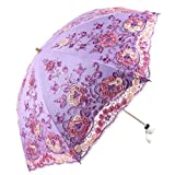 Honeystore Wedding Lace Sun UV Parasol 2 Folding 3D Flower Embroidery Umbrella H7207 Purple