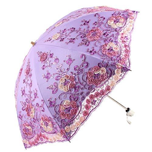 Uv Halloween Blackout (Honeystore Wedding Lace Sun UV Parasol 2 Folding 3D Flower Embroidery Umbrella H7207)