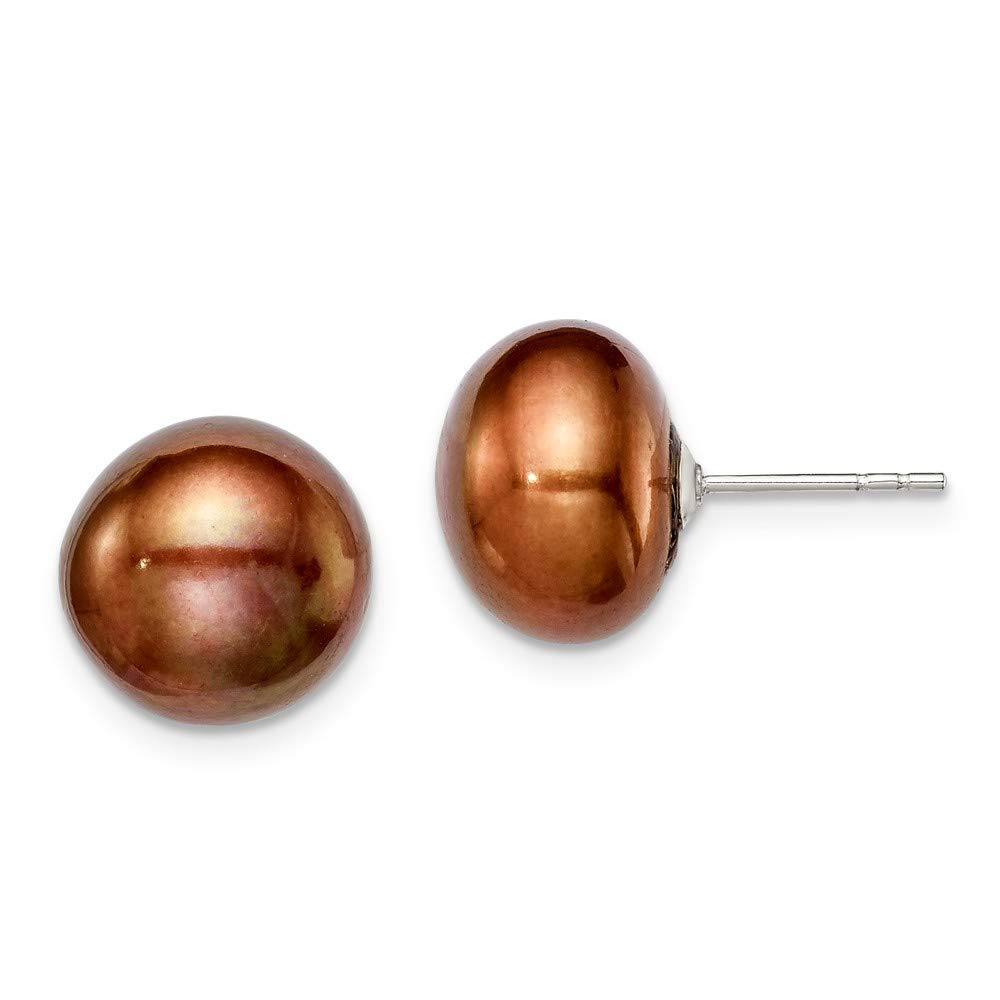 Sterling Silver 11-12mm Brown FW Cultured Button Pearl Stud Ear