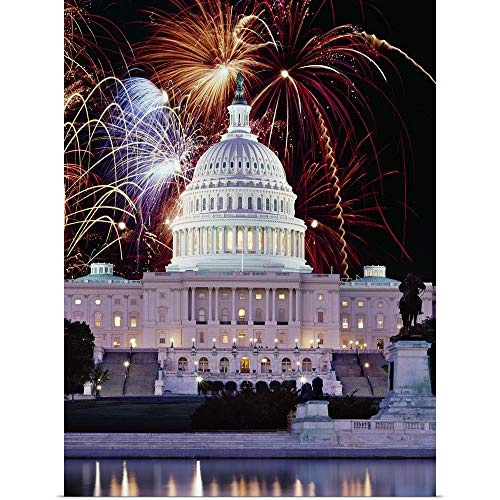 GREATBIGCANVAS Poster Print Entitled Firework Display Over a Government Building at Night, Capitol Building, Washington DC by 18