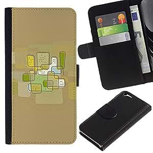 KingStore / Leather Etui en cuir / Apple Iphone 6 / Ciudad del arte abstracto de Brown