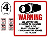 NEW! INSIDE MOUNT 4 Pack #204-IM Commercial Grade Outdoor / Indoor Security Surveillance CCTV Video Warning Decal - 4''x 4''