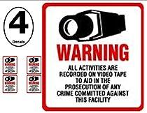 NEW! INSIDE MOUNT 4 Pack #204-IM Commercial Grade Outdoor / Indoor Security Surveillance CCTV Video Warning Decal - 4x 4