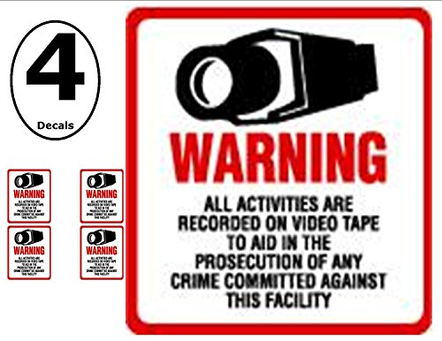 "NEW! INSIDE MOUNT 4 Pack #204-IM Commercial Grade Outdoor / Indoor Security Surveillance CCTV Video Warning Decal - 4""x 4"""