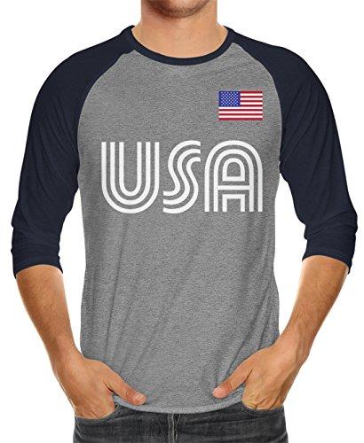 SpiritForged Apparel United States Soccer Jersey Unisex 3/4 Raglan Shirt, Navy/Heather Medium ()