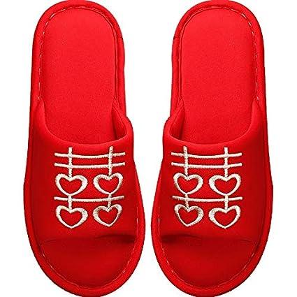 XIAOGEGE-Zapatillas Rojas Festivas Zapatillas de Boda Mujer casera Antideslizante Suave Fondo casa Zapatillas Rojas