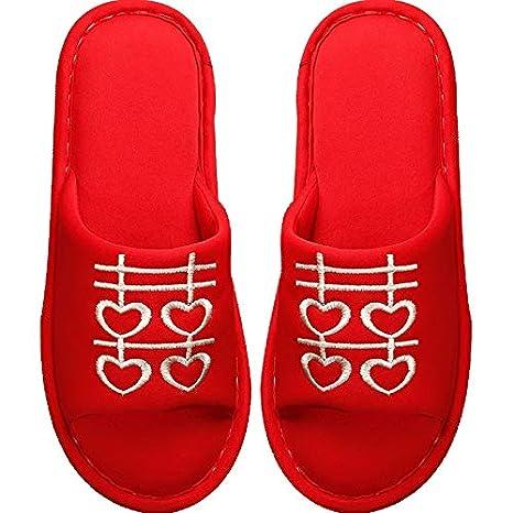 XIAOGEGE-Zapatillas Rojas Festivas Zapatillas de Boda Mujer casera Antideslizante Suave Fondo casa Zapatillas Rojas, EU 38/39, Rojo 1: Amazon.es: Deportes y ...